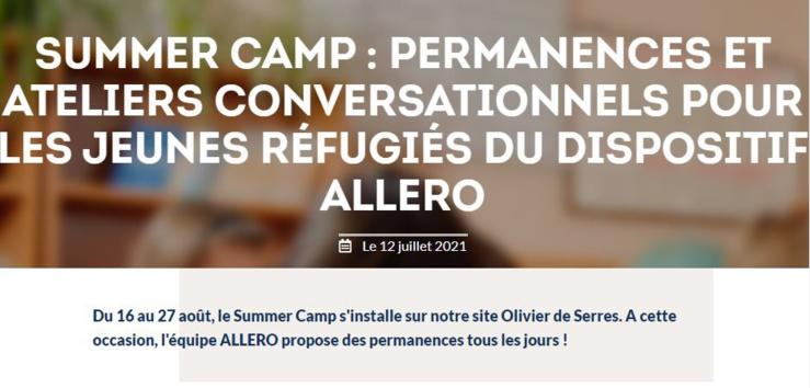 المخيم الصيفي لـ ALLERO: مكتب استقبال وورش عمل حوارية للاجئين الشباب